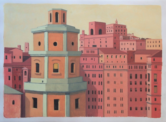 6-Pink City (with Tower)_2012_Casein and Tempera on Paper_22x30 inches_web
